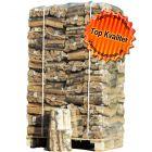 Ovntørret brænde af birk i netsække.
