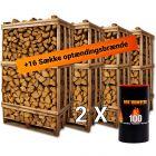 Pakke tilbud med 4 paller brænde af eg plus optændingspakke