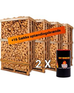 Pakketilbud med 4 paller af birkebrænde. Billigt brænde til hele sæssonen