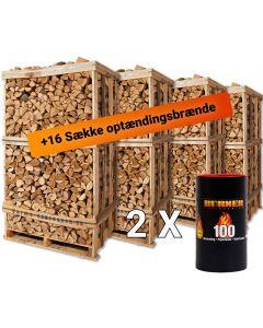 Pakke tilbud med 4 brændetårne med brænde af blandet løv. Her kommer du varmt igennem hele vinteren